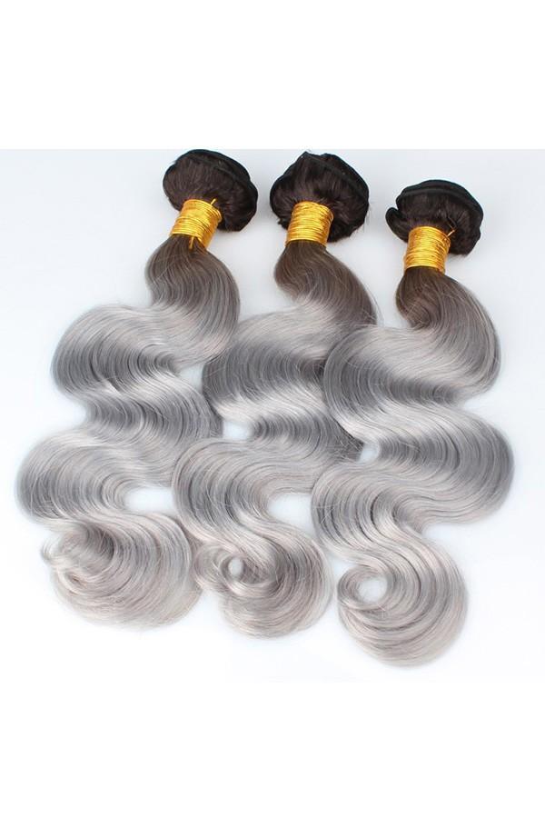 Brazilian Virgin Human Hair Ombre Hair Weave Color1bgrey Body Wave
