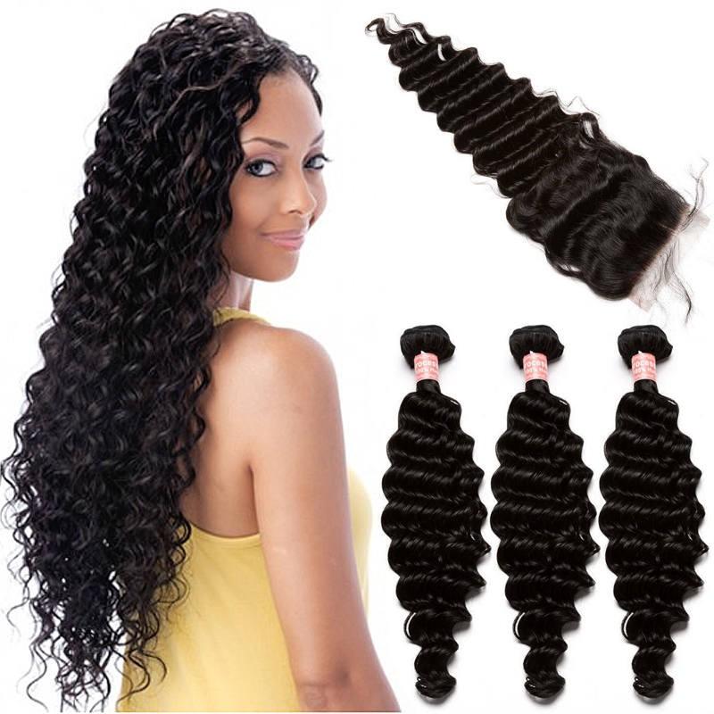 Brazilian Virgin Human Hair With Closure Deep Wave 3 Bundles With 1