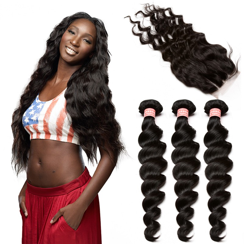 Brazilian Virgin Human Hair Extensions Loose Wave 3 Bundles with 1 closure  Natural Color Body Wave 6723684ddd