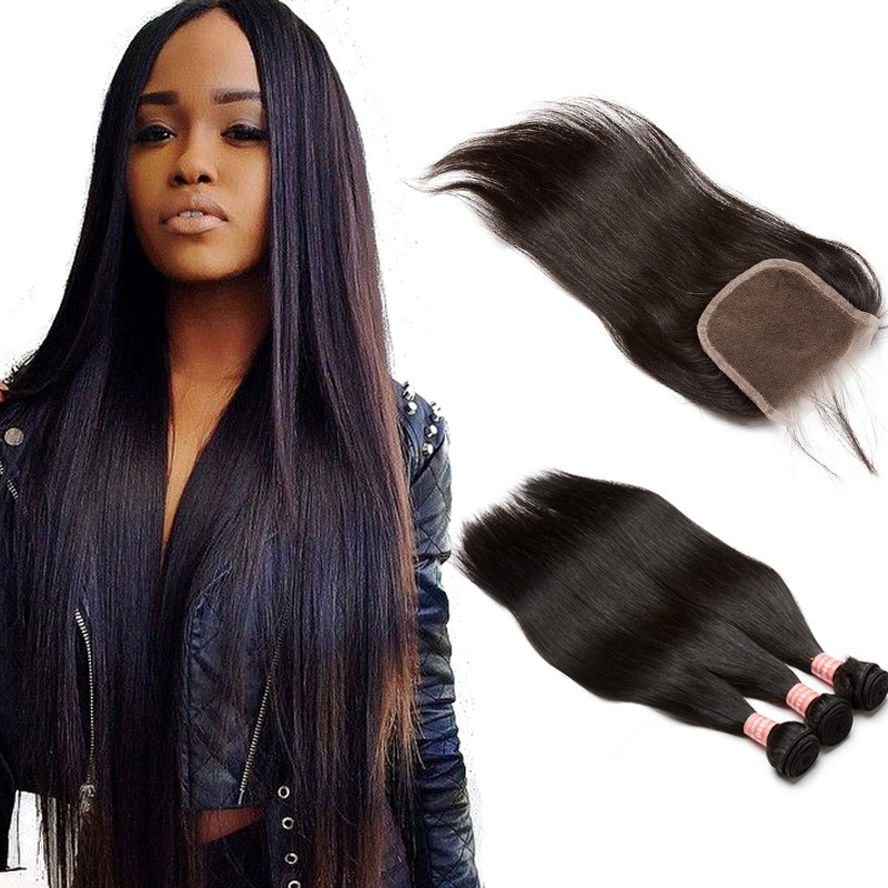 Brazilian Virgin With Closure Hair Extensions Loose Wave 3 Bundles