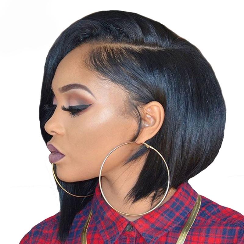 200 Density Straight Human Hair Short Bob Wig For Women Natural