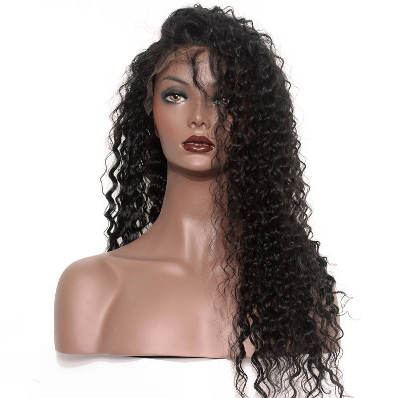306b6a99db5f 250% Density Lace Wig Pre-Plucked Natural Hairline Deep Wave Malaysian Lace  Front Wigs
