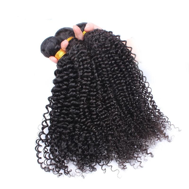 Natural Color Kinky Curly Hair Weaves Brazilian Virgin Human Hair 3