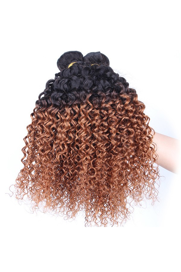 Peruvian Virgin Human Hair Kinky Curly Ombre Hair Weave Color 1b30