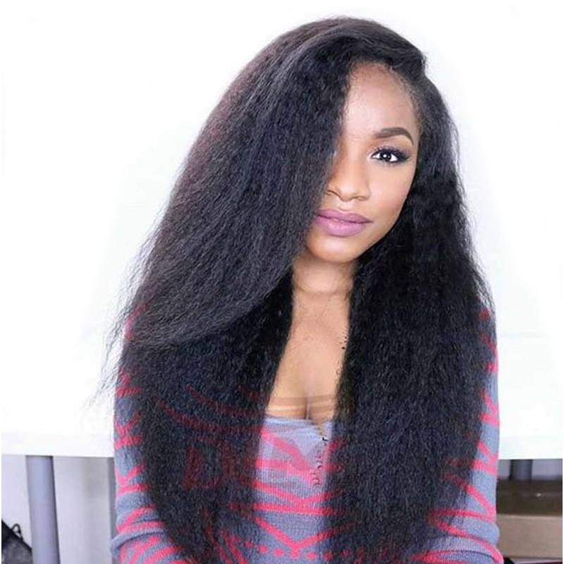 Kinky Straight Full Lace Wig 250% High Density Italian Coarse Yaki Full  Lace Human Hair 40e373d8ee