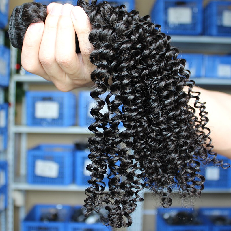 Indian Remy Human Hair Kinky Curly Hair Weave Natural Color 3