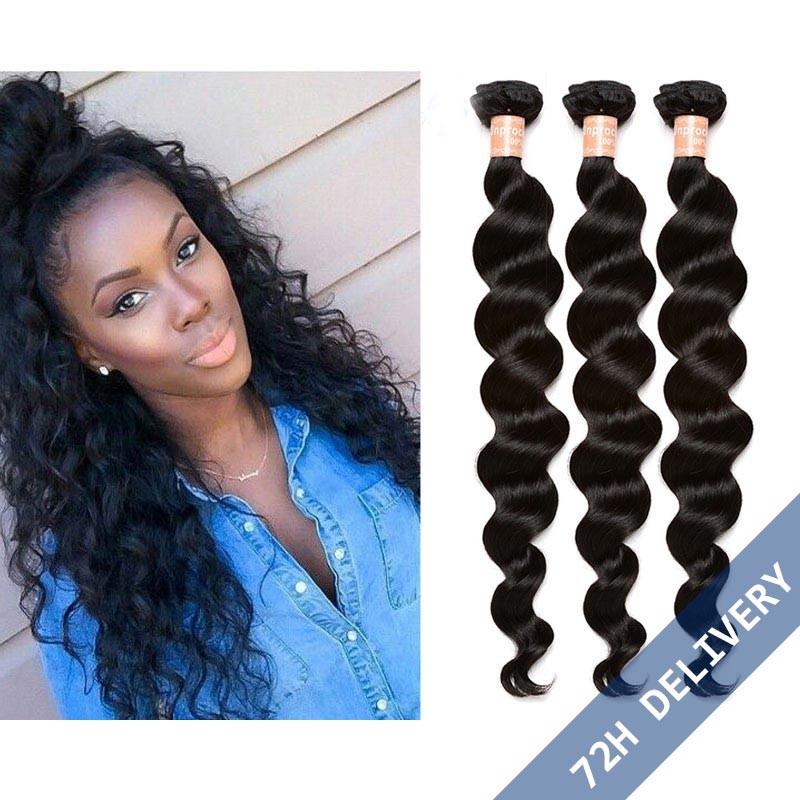 Natural Color Loose Wave Hair Extensions Brazilian Virgin Human Hair