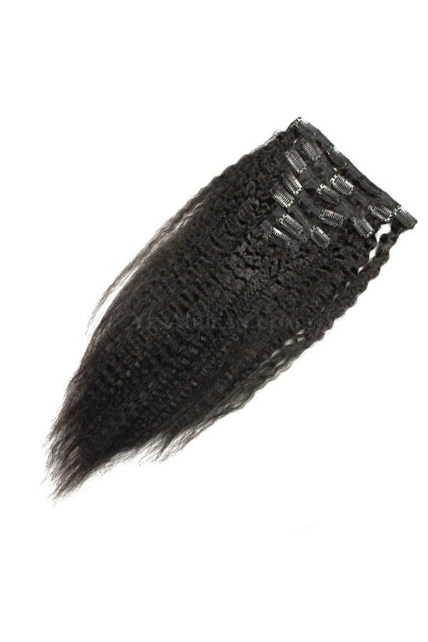 Kinky Straight Indian Remy Hair Clip In Human Hair Extensions