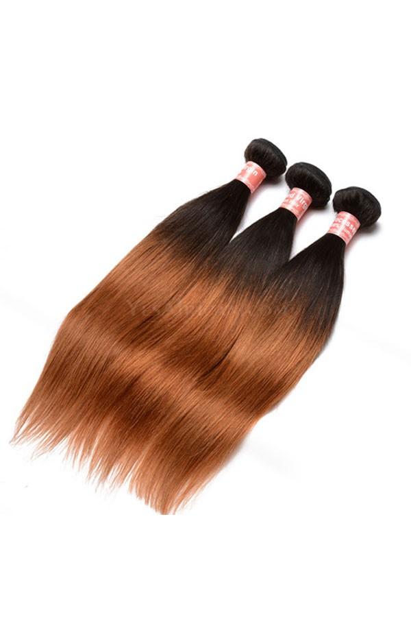 Peruvian Virgin Human Hair Silky Straight Ombre Hair Weave Color 1b