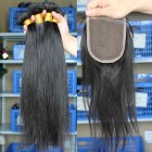 Indian Virgin Hair Silky Straight Free Part Lace Closure with 3pcs Weaves