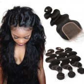 Brazilian Virgin Human Hair Extensions Weave 3 Bundles with 1 closure Natural Color Body Wave