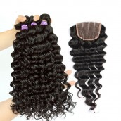 Deep Wave Brazilian Virgin Hair Free Part Lace Closure with 3pcs Weave Bundles