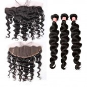 Natural Color Loose Wave Brazilian Virgin Hair Lace Frontal Free Part With 3pcs Weaves