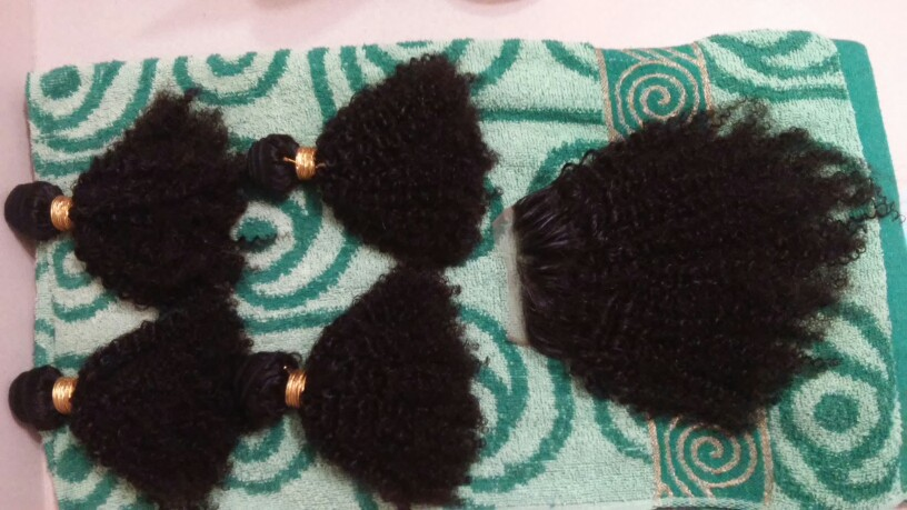 Afro Kinky Curly Free Part Lace Closure with 3pcs Weaves